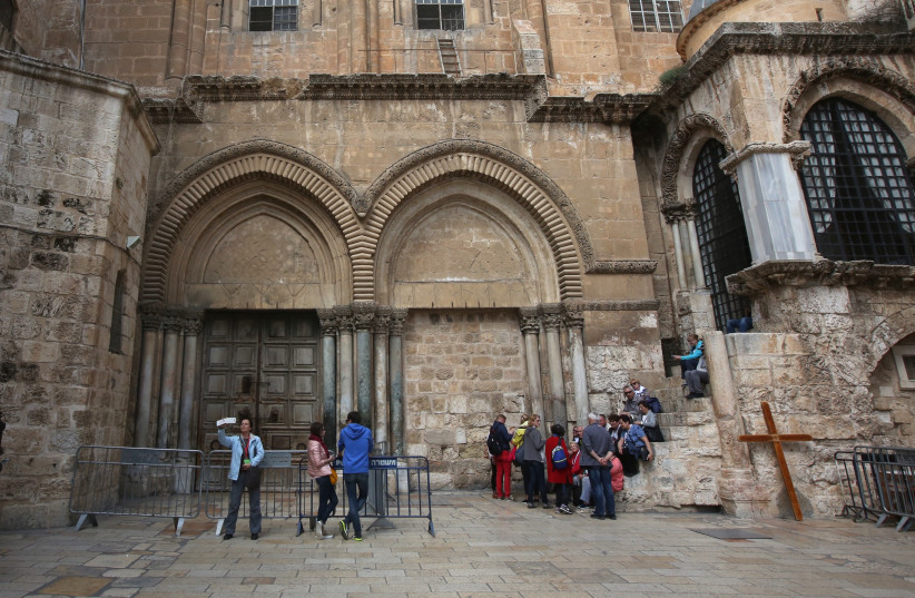 The Church of the Holy Sepulchre closed in protest of proposed property taxes, February 2018 (photo credit: MARC ISRAEL SELLEM/THE JERUSALEM POST)