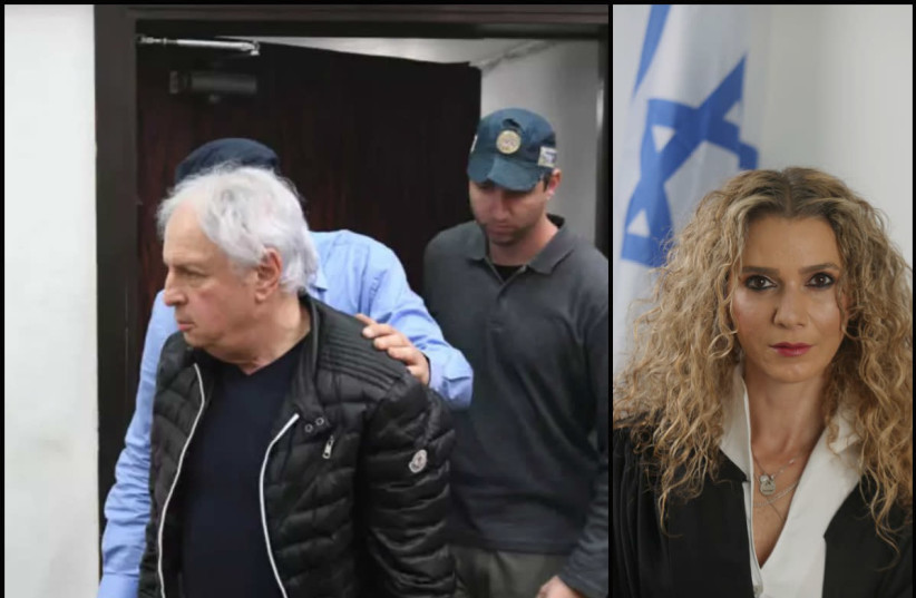 Bezeq shareholder Shaul Elovich and Tel Aviv Court Judge Ronit Poznanski-Katz (photo credit: AVSHALOM SASSONI/ISRAELI JUSTICE MINISTRY SPOKESPERSON'S OFFICE)