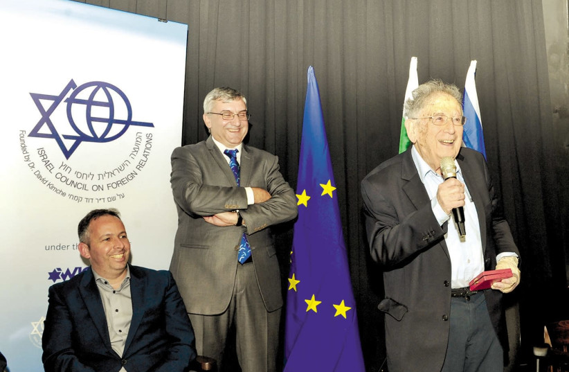 Prof. Yehuda Bauer speaks after being awarded the Nahum Goldmann Medal in Tel Aviv (photo credit: ANDRES LACKO)
