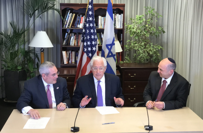 Paul Packer, commissioner of the Preservation of America's Heritage Abroad, US Amb. David Friedman and Director General of the Ministry of Diaspora Affairs at the signing ceremony in Tel Aviv on Monday. (Courtesy) (photo credit: Courtesy)