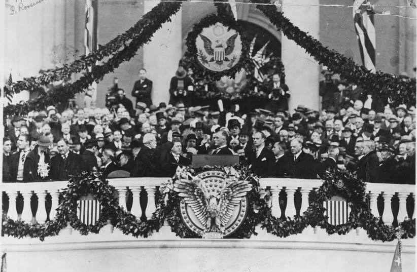 FRANKLIN DELANO Roosevelt takes the Oath of Office from chief justice Charles Evans Hughes in Washington, in 1933. (photo credit: REUTERS)