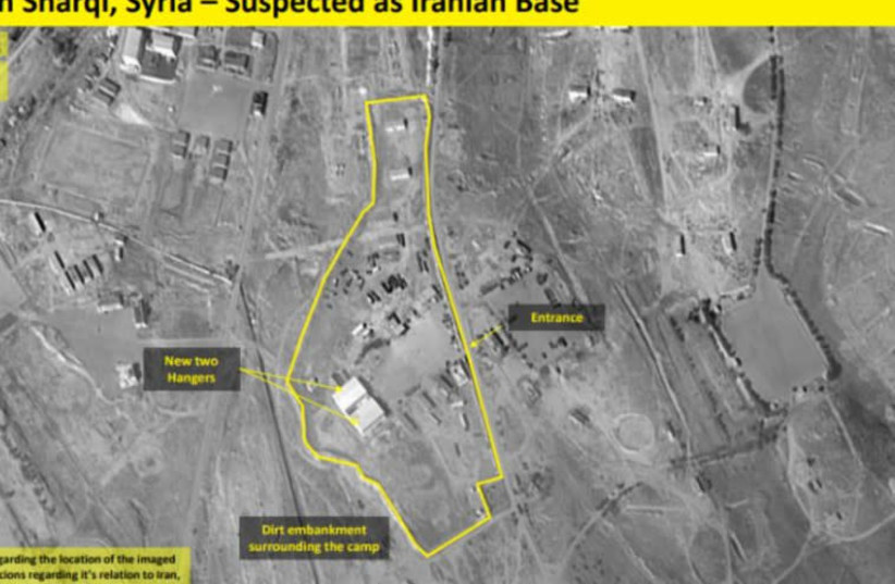 A satellite image claiming to show a n Iranian military base outside Damascus (photo credit: IMAGESAT INTERNATIONAL (ISI))
