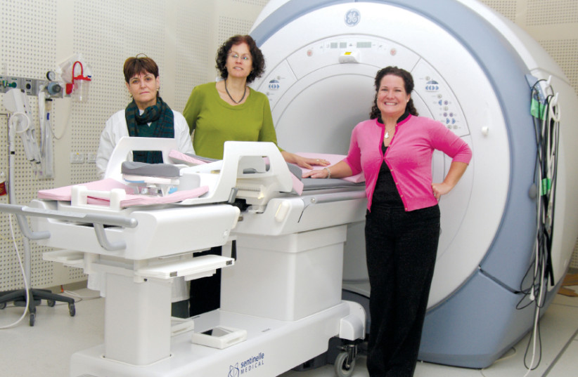 DR. MIRIAM SKLAR (center), head of breast imaging at the Meirav Breast Center and Rachel Moskovitch (right), seen with the department's latest technology (photo credit: Courtesy)