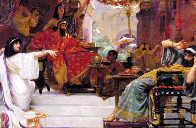 ESTHER DENOUNCING Haman' (1888) by English painter Ernest Normand (photo credit: Wikimedia Commons)