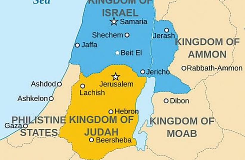 A MAP of the Kingdom of Israel. (photo credit: Wikimedia Commons)