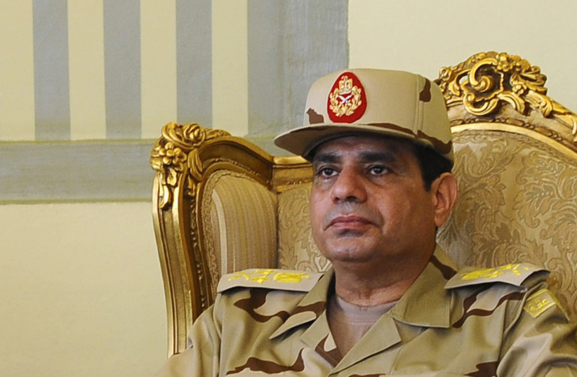 Egypt's Defense Minister Abdel Fattah al-Sisi is seen during a news conference in Cairo on the release of seven members of the Egyptian security forces kidnapped by Islamist militants in Sinai, May 22, 2013. Picture taken May 22, 2013. (photo credit: REUTERS)