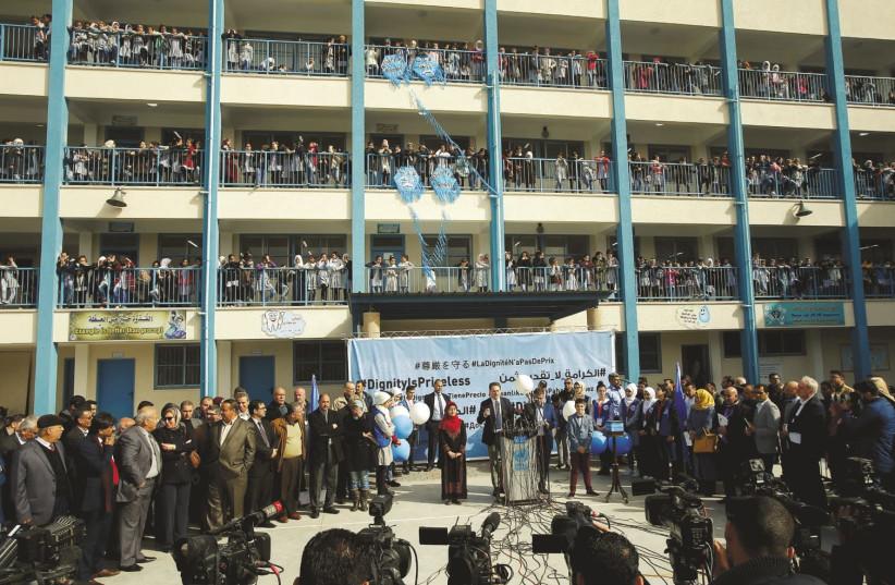 UNRWA Commissioner-General Pierre Krähenbühl holds a news conference at a UN school in Gaza City on January 22 (photo credit: SUHAIB SALEM / REUTERS)