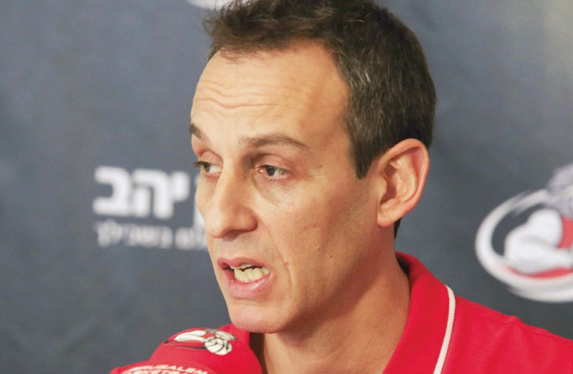Oded Katash was introduced as Hapoel Jerusalem's head coach yesterday, beginning his second tenure at the club after also guiding the team in the 2010/11 campaign before resigning early in the subsequent season (photo credit: DANNY MARON)