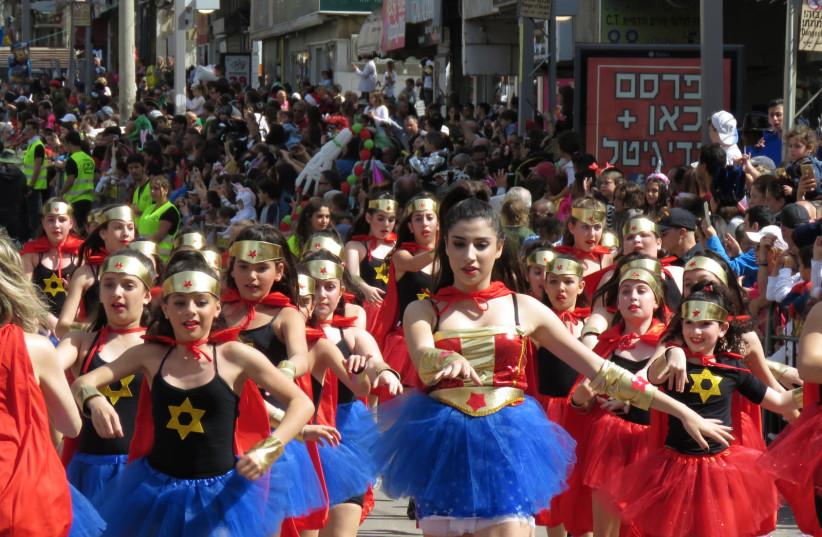 The 'Adloyada' parade in the city of Holon. (photo credit: SHARON HENNESSY)
