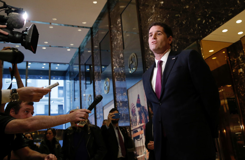 Ron Dermer, Israel's Ambassador to the US speaks to members of the news media after meeting with then-President Elect Donald Trump at Trump Tower in the Manhattan borough of New York City, US, November 17, 2016. (photo credit: REUTERS)
