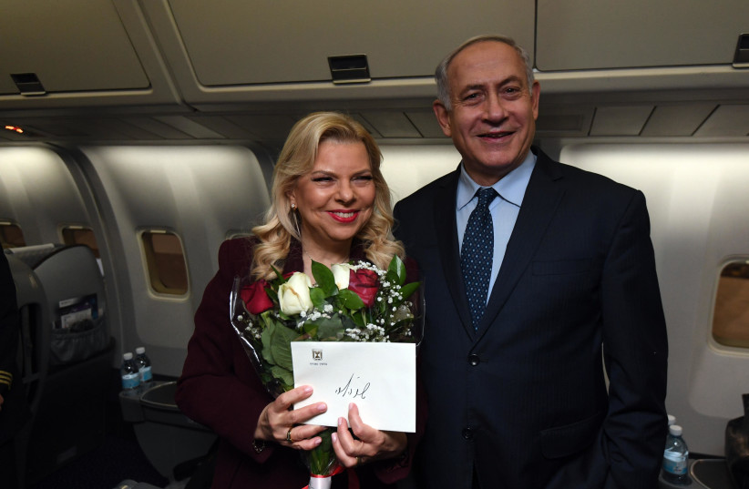 Prime Minister Benjamin Netanyahu and his wife Sara leave for the US, March 4, 2018. (photo credit: GPO)