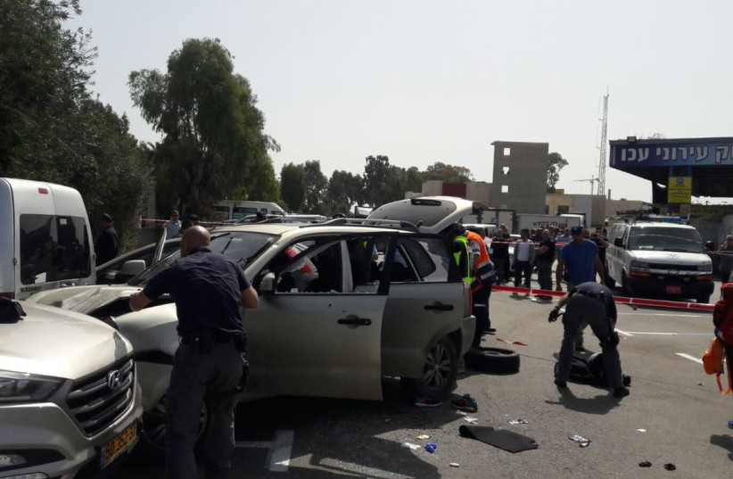 The site of a suspected ramming attack in Israel's northern city of Acre. (photo credit: UNITED HATZALAH)
