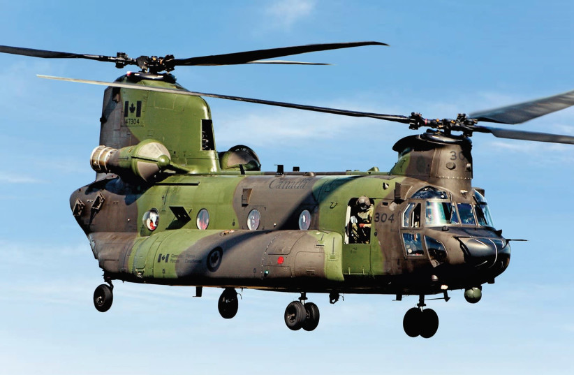 A Canadian Boeing CH-47 Chinook is seen. The IDF recommends that the IAF replace its aging Yasur fleet with these Boeing tandem-rotor transport helicopters (photo credit: Wikimedia Commons)