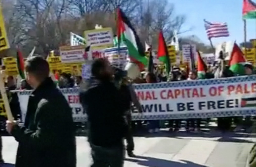 Pro-Palestinian protest in Washington, DC as the AIPAC Policy Conference takes place, March 4, 2018 (photo credit: REUTERS / SCREENSHOT)