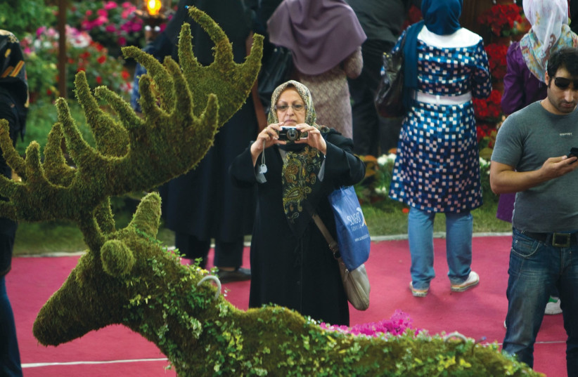 AN IRANIAN WOMAN photographs a shrub trimmed like a deer. Not so long ago, deer played a key role in Israel-Iran relations. (Reuters) (photo credit: REUTERS)