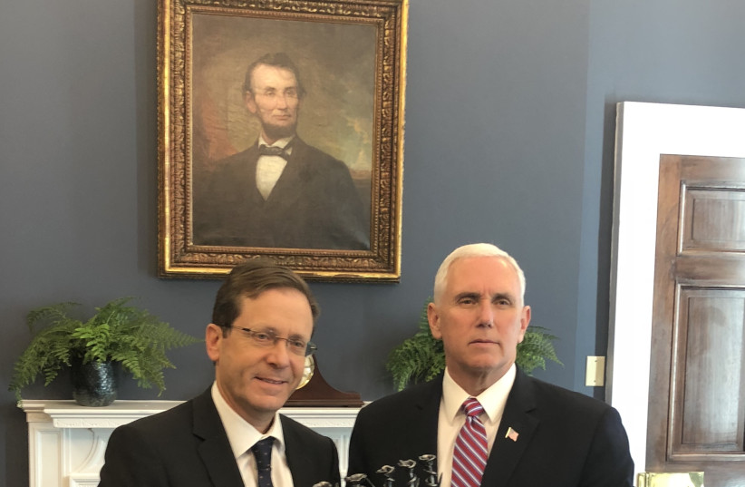 US Vice President Mike Pence and Opposition Leader Isaac Herzog meet in Washington, March 2018 (photo credit: COURTESY OF THE OFFICE OF THE OPPOSITION LEADER)