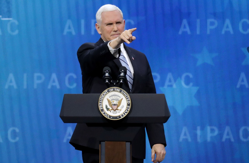 US Vice President Mike Pence addresses AIPAC, March 2018 (photo credit: AFP PHOTO)