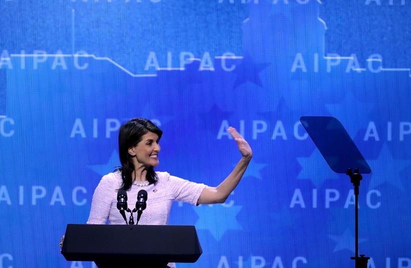 US Ambassador to the UN Nikki Haley addresses AIPAC, March 2018 (photo credit: AFP PHOTO)