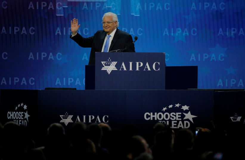 U.S. Ambassador to Israel David Friedman addresses the AIPAC policy conference in Washington, DC, U.S., March 6, 2018. (photo credit: BRIAN SNYDER / REUTERS)
