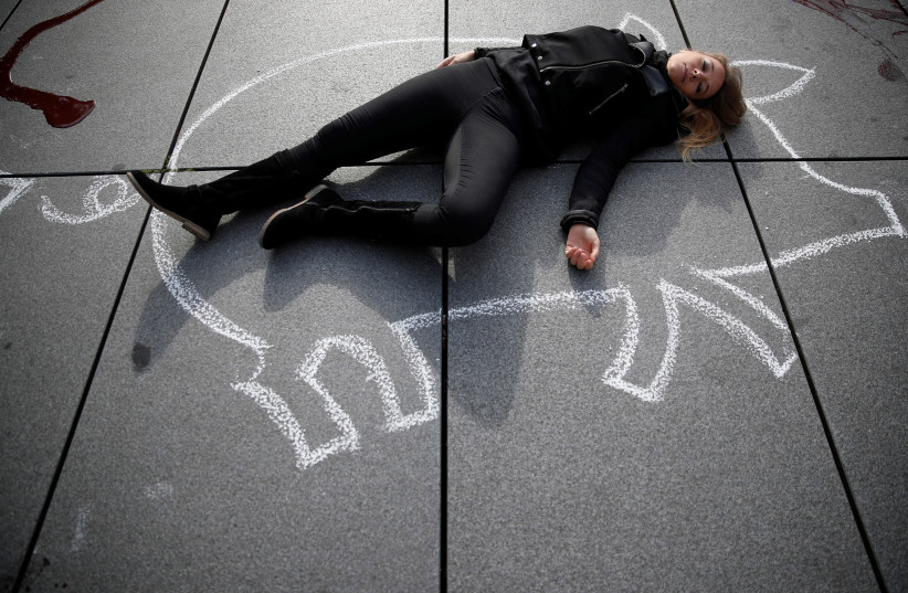 A supporter of People for the Ethical Treatment of Animals (PETA) lies on the pavement next to the Centre Pompidou modern art museum, also known as Beaubourg, to raise awareness on World Vegan Day, in Paris, France, November 1, 2017. (photo credit: REUTERS)