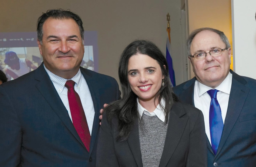 Justice Minister Ayelet Shaked, flanked by Israel Bonds president Israel Maimon (left) and Consul-General in New York Dani Dayan (photo credit: Courtesy)