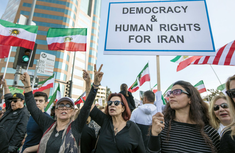 Protesters against the Iranian regime take to the streets in Los Angeles (photo credit: REUTERS)