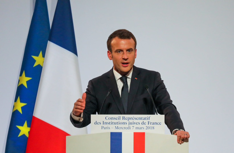 French President Emmanuel Macron attends the 33rd annual dinner of the Representative CRIF in Pari (photo credit: REUTERS/LUDOVIC MARIN/POOL)