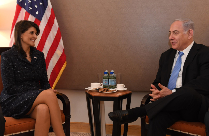 US Ambassador to the UN Nikki Haley meets with Israeli Prime Minister Benjamin Netanyahu in New York City, March 2018 (photo credit: CHAIM ZACH / GPO)