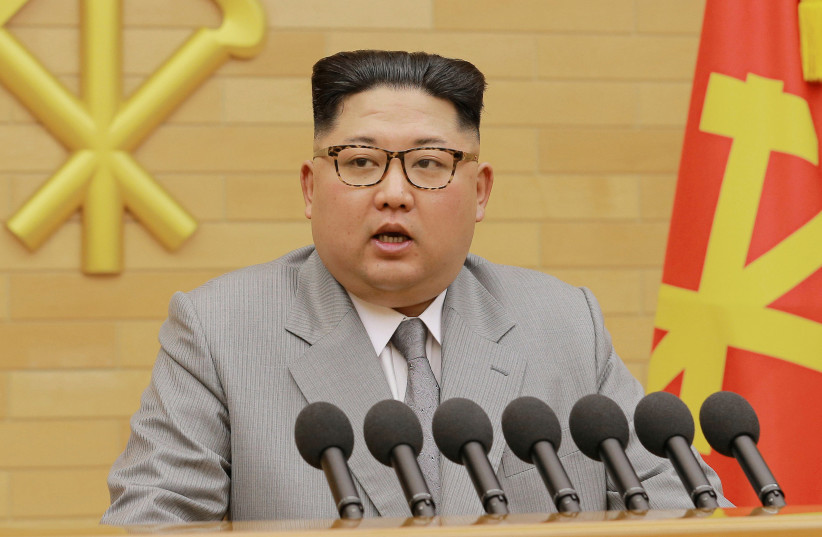 North Korea's leader Kim Jong Un speaks during a New Year's Day speech in this photo released by North Korea's Korean Central News Agency (KCNA) in Pyongyang on January 1, 2018 (photo credit: KCNA/ REUTERS)