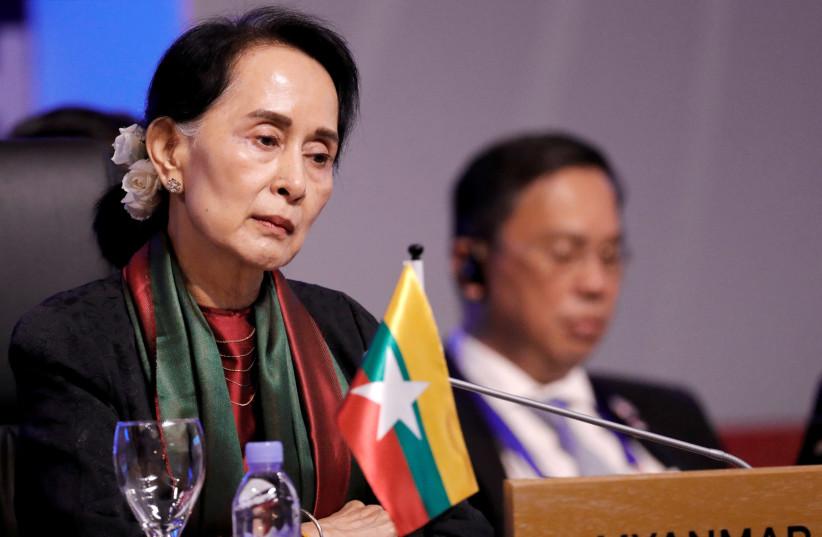 Myanmar's leader Aung San Suu Kyi (photo credit: DONDI TAWATAO/ REUTERS)