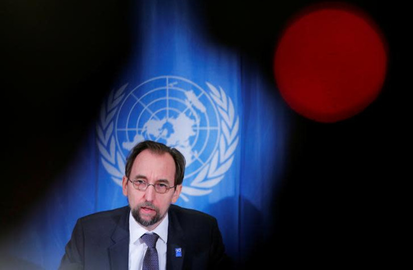 Zeid Ra'ad al-Hussein, U.N. High Commissioner for Human Rights addresses a news conference at the United Nations in Geneva, Switzerland March 9, 2018. REUTERS/Denis Balibouse (photo credit: DENIS BALIBOUSE/REUTERS)
