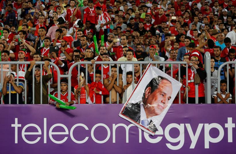 Egyptian soccer fans at Borg El Arab Stadium, Alexandria, Egypt, October 8, 2017 (photo credit: REUTERS)