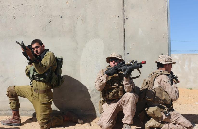 IDF troops drill alongside US Marines as part of Juniper Cobra 2018 (photo credit: ANNA AHRONHEIM)
