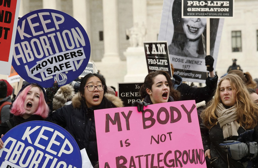 'FORTY-FIVE YEARS after the landmark Roe v. Wade decision, which so many of us cheered as finally giving a woman the right to make her own reproductive choices, that right is steadily eroding.' (photo credit: REUTERS)