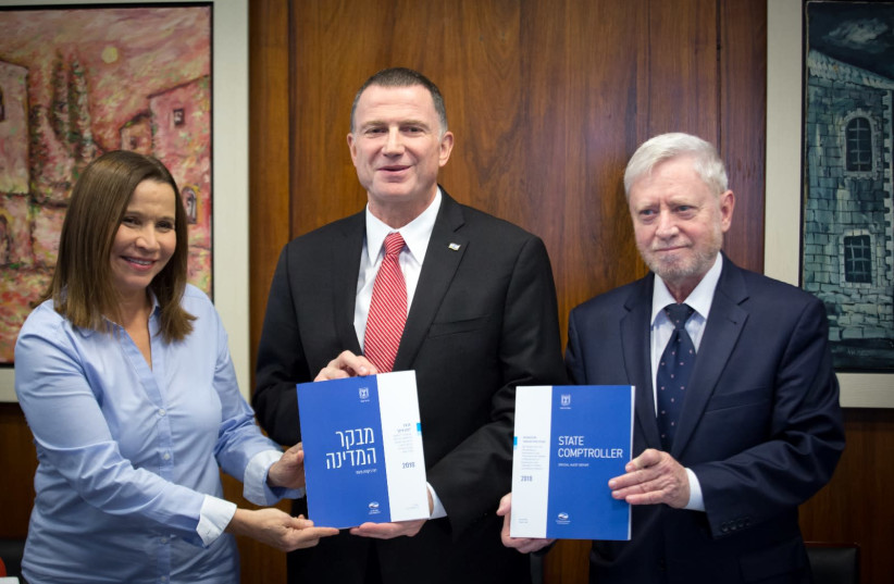 Knesset chairman Yuli Edelstein receiving the 2018 State Comptroller Report (photo credit: HILLEL MEIR/TPS)