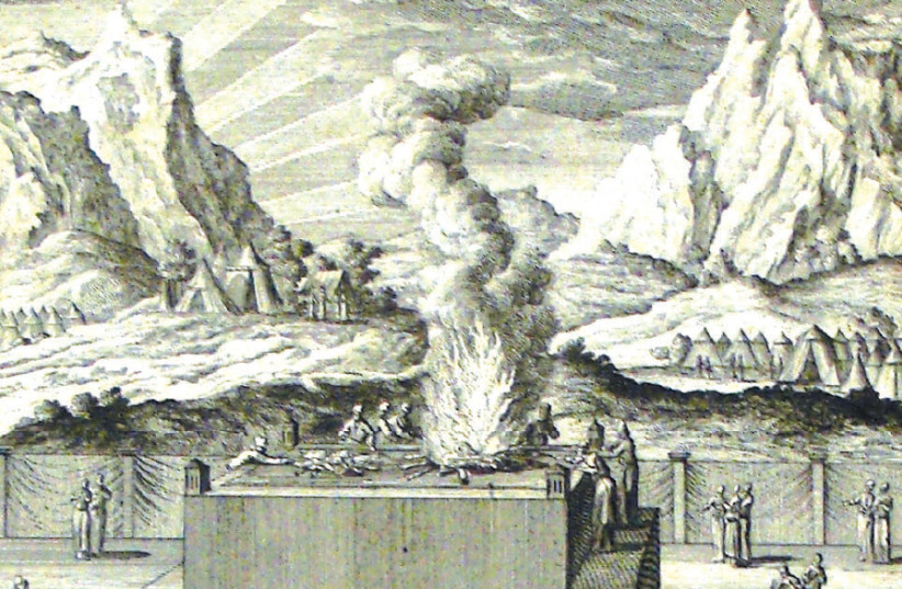 BURNT OFFERING: A print from the Phillip Medhurst Collection of Bible illustrations at St. George's Court, Kidderminster, England (photo credit: Wikimedia Commons)