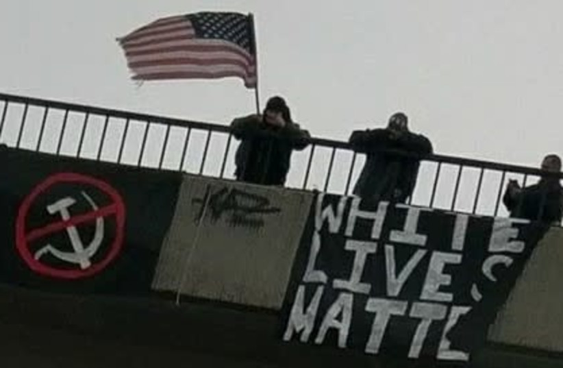 'Banners of Hate' placed by US white supremacist groups (photo credit: ANTI-DEFAMATION LEAGUE)
