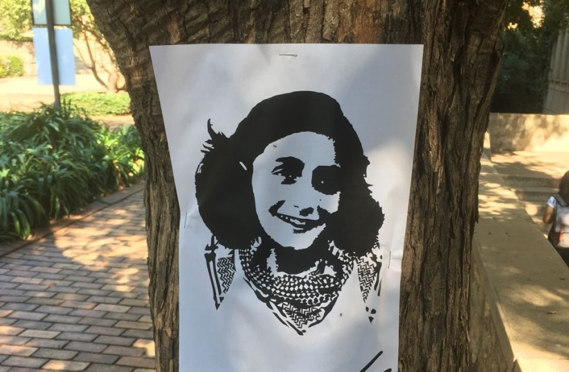 A sketched picture of Anne Frank wearing a Palestinian keffiyeh stuck to a tree at Wits University in Johannesburg during this weeks Israel-Apartheid Week (photo credit: Courtesy)