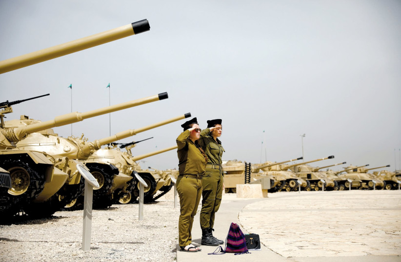 SOLDIERS STAND at attention during a ceremony at the Armored Corps museum at Latrun. (photo credit: REUTERS)