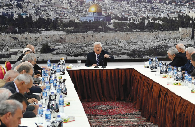 Palestinian Authority President Mahmoud Abbas speaks at a meeting in Ramallah on March 19, 2018 (photo credit: PPO)