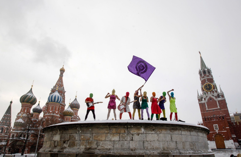 The members of Pussy Riot in the Red Square in Moscow (photo credit: ALEXANDER SOFEEV)