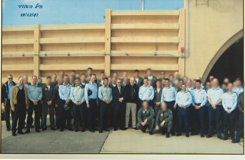 A group picture of all the IAF pilots that participated in the operation of bombing a Syrian nuclear reactor site in 2007 (photo credit: IDF SPOKESPERSON'S OFFICE)