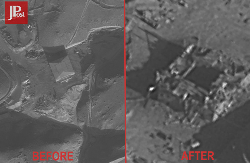 Before and after aerial picture of the Syrian nuclear reactor site (photo credit: IDF SPOKESPERSON'S OFFICE)