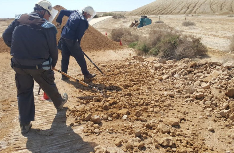 Workers clearing the area of Qasr el-Yahud baptism site of mines (photo credit: DEFENSE MINISTRY)