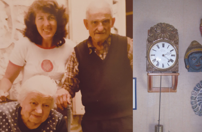 Left: BETTY EPPEL (standing, left) visits Josephine and Victor Guicherd in France in 1986. Right: VICTOR GUICHERD'S clock hangs in Betty Eppel's house (photo credit: DAVID EPPEL)