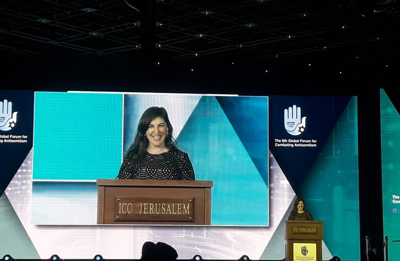 Mayim Bialik speaking at the Global Forum for Combatting Antisemitism (photo credit: TAMARA ZIEVE)