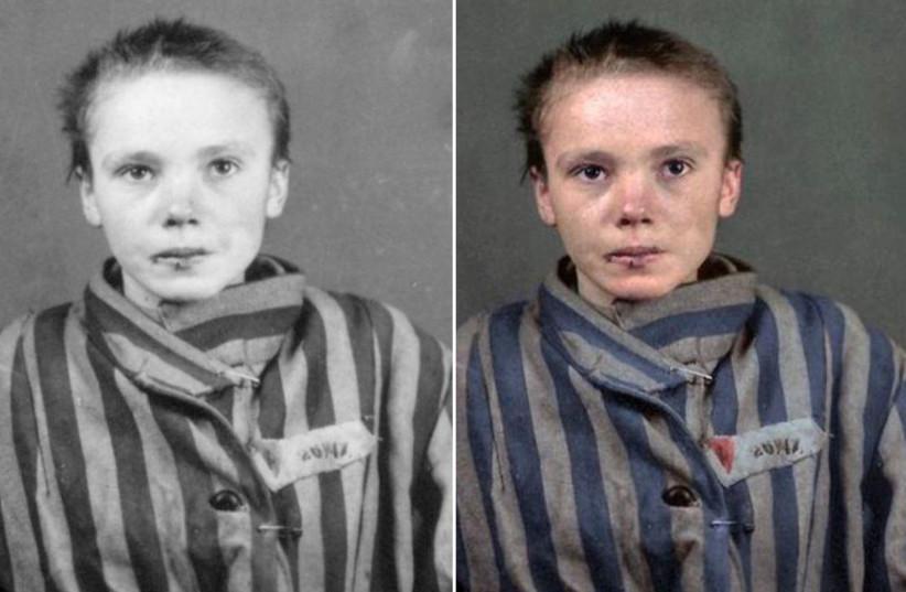 Original black and white and colorized photo of Holcoaust victim Czeslawa Kwoka (photo credit: WILHELM BRASSE/ MARINA AMARAL/ TWITTER)
