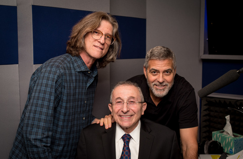 GEORGE CLOONEY, Rabbi Marvin Hier and Richard Trank pose for a photo in the recording booth (photo credit: Courtesy)