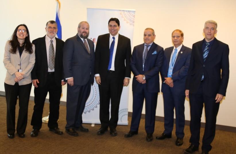 """Israel's Permanent Representative to the UN Ambassador Danny Danon, Deputy Permanent Representative Ambassador Noa Furman and the panelists from the """"Israel: Water Solutions"""" forum at the UN (photo credit: ISRAEL AT THE UN)"""