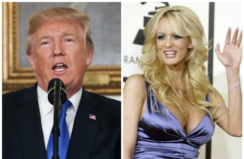 United States President Donald Trump (L) and adult film actress Stormy Daniels (R). (photo credit: KEVIN LAMARQUE/DANNY MOLOSHOK/REUTERS)